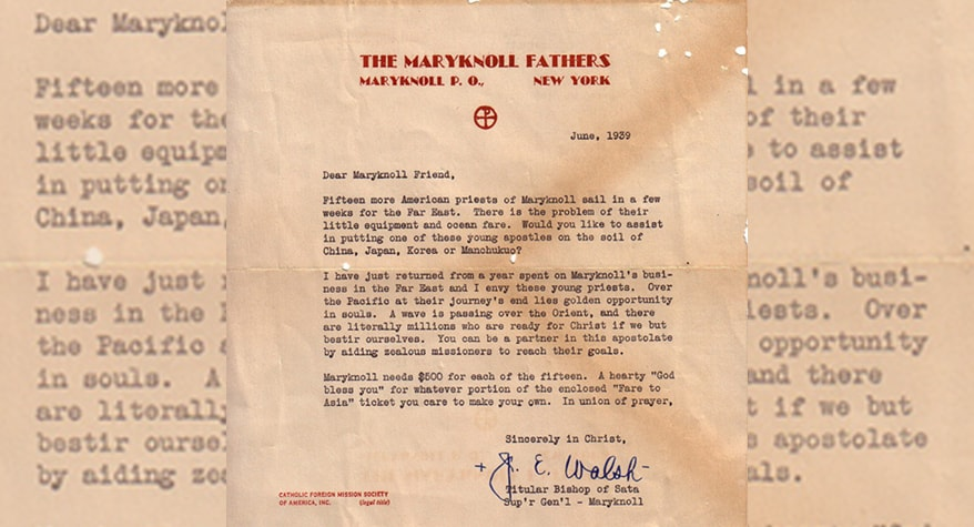 72-Year-Old Maryknoll Fundraising Letter Found