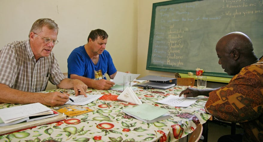 Br. Mark Gruenke, M.M. and Br. Loren Beaudry, M.M. at work (Namibia)