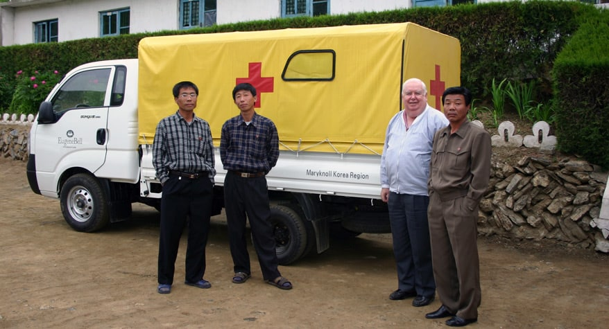 Father Gerard Hammond, M.M. delivering medicines (North Korea)