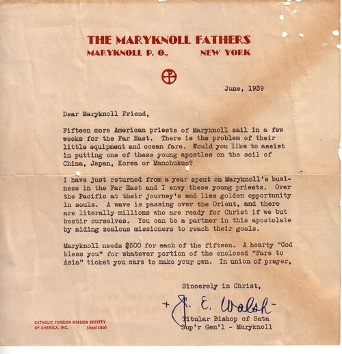 Maryknoll 1939 Fundraising Letter