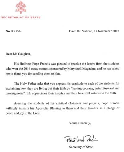maryknoll essay contest for students 2014 winners seen by pope francis sent a letter from the vatican