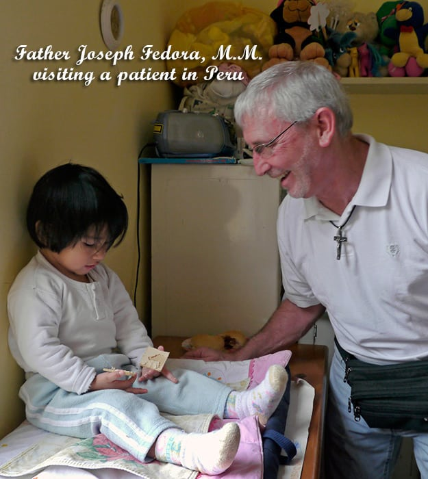 Father Joseph Fedora, M.M. visiting a patient (Peru)