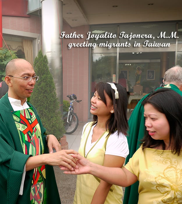 Father Joyalito Tajonera, M.M. greeting migrants (Taiwan)